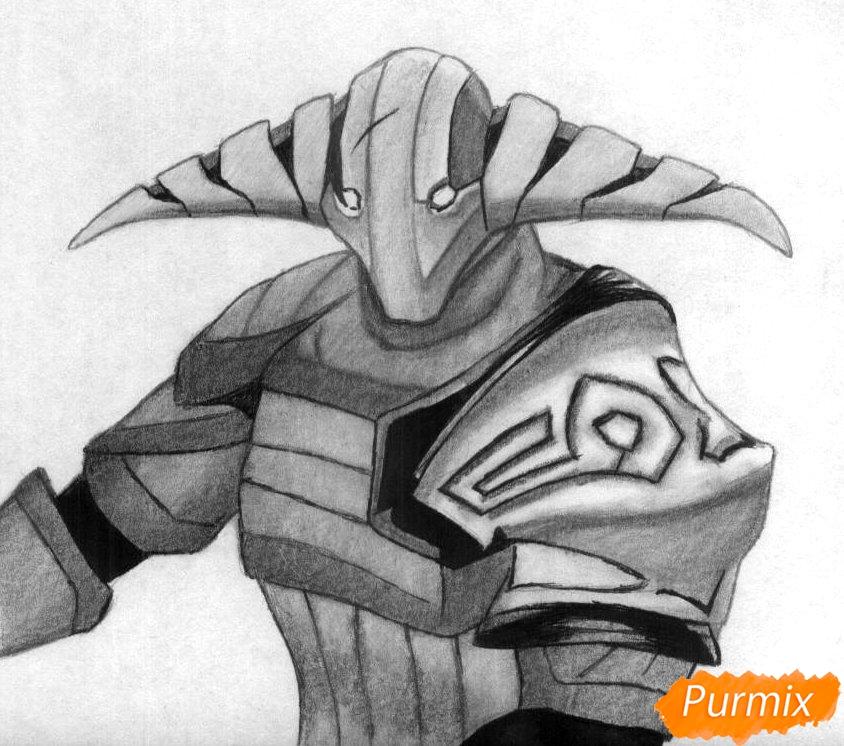 Как нарисовать героя Svena из игры Dota 2 карандашом поэтапно