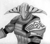 Фото героя Svena из игры Dota 2 карандашом