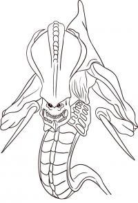 Как нарисовать Гидралиска из StarCraft карандашом поэтапно
