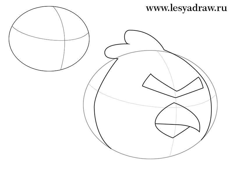 Рисуем Красную Птицу из Angry Birds