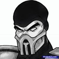 скорпиона из Mortal Kombat карандашом