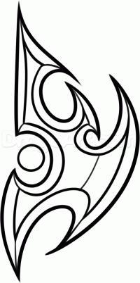 логотип Протоссов из игры Starcraft 2 карандашом