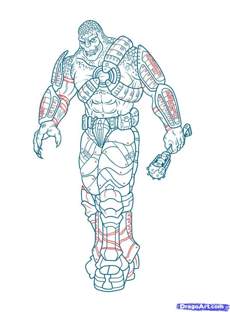 Как нарисовать Локуста из Gears of War карандашом
