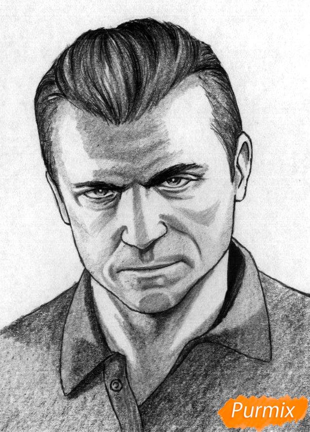 Рисуем Майкла Де Санта из игры Grand Theft Auto V карандашами - шаг 4