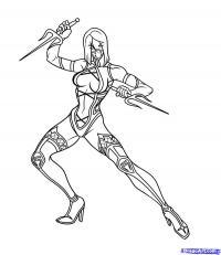 Как нарисовать Милену (Mileena) из Mortal Kombat карандашом поэтапно