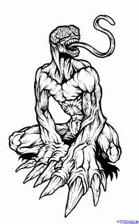 Фото монстра Licker из Resident Evil карандашом