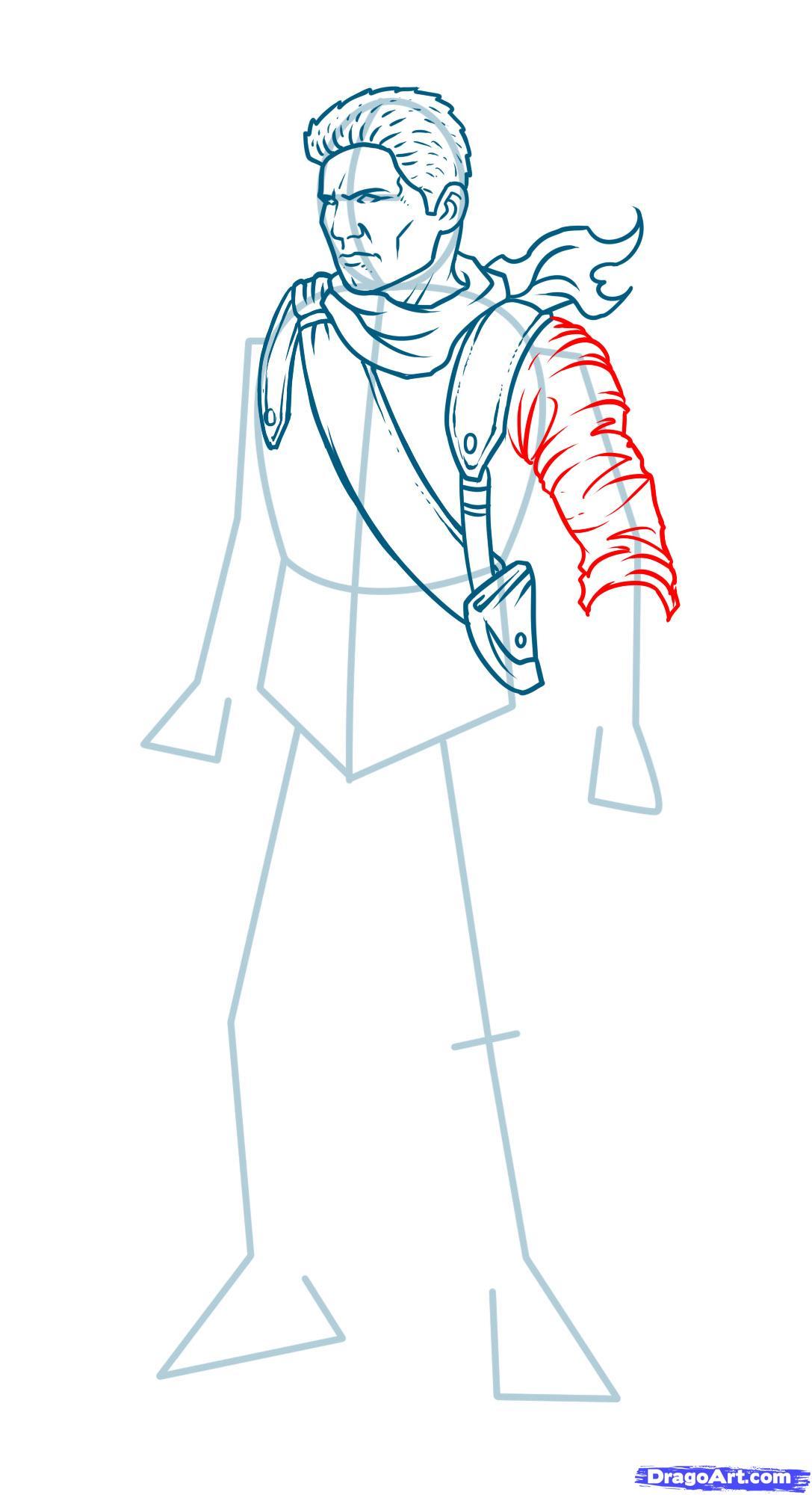 Как нарисовать Nathan Drake из Uncharted карандашом поэтапно