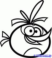 оранжевую птицу на бумаге карандашом