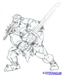Как нарисовать орка из варкрафта карандашом поэтапно