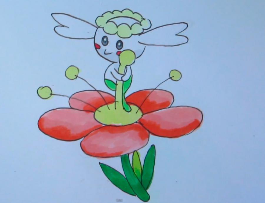 Как нарисовать покемона Flabebe из Pokemon X and Y карандашом поэтапно