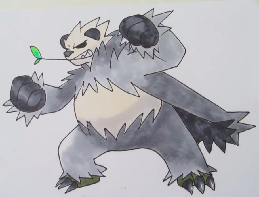 Как нарисовать покемона Pangoro карандашом на бумаге поэтапно