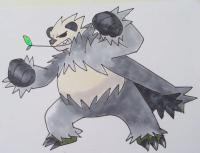 покемона  Pangoro карандашом на бумаге