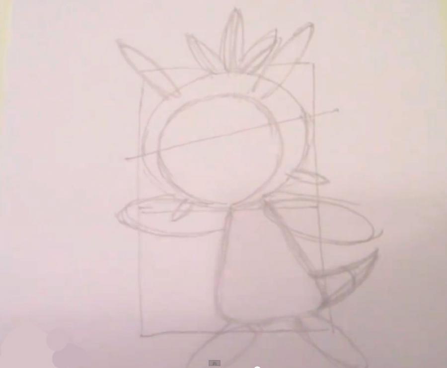 Как нарисовать покемона Чеспина из Покемон X и Y карандашом поэтапно