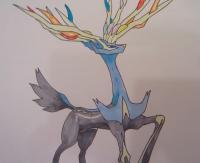 Как нарисовать покемона Ксерния из игры Покемон X и Y карандашом