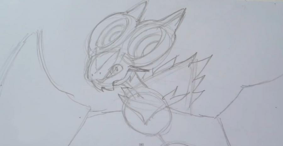 Как нарисовать покемона Нойверна из Покемон X и Y карандашом поэтапно