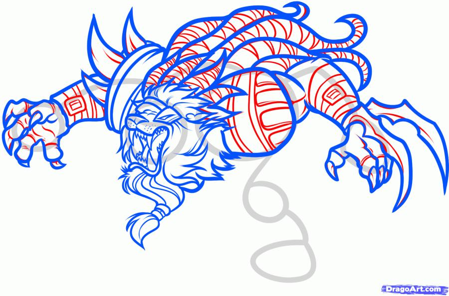 Рисуем Ренгара (Rengar) из Лиги Легенд