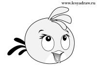 Фото розовую птицу из Angry Birds карандашом