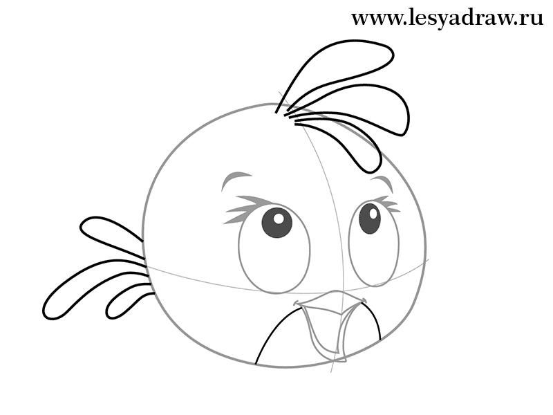 Рисуем розовую птицу из Angry Birds