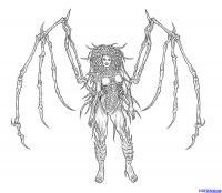 Как нарисовать Сару Керриган королеву клинков из Starcraft карандашом поэтапно