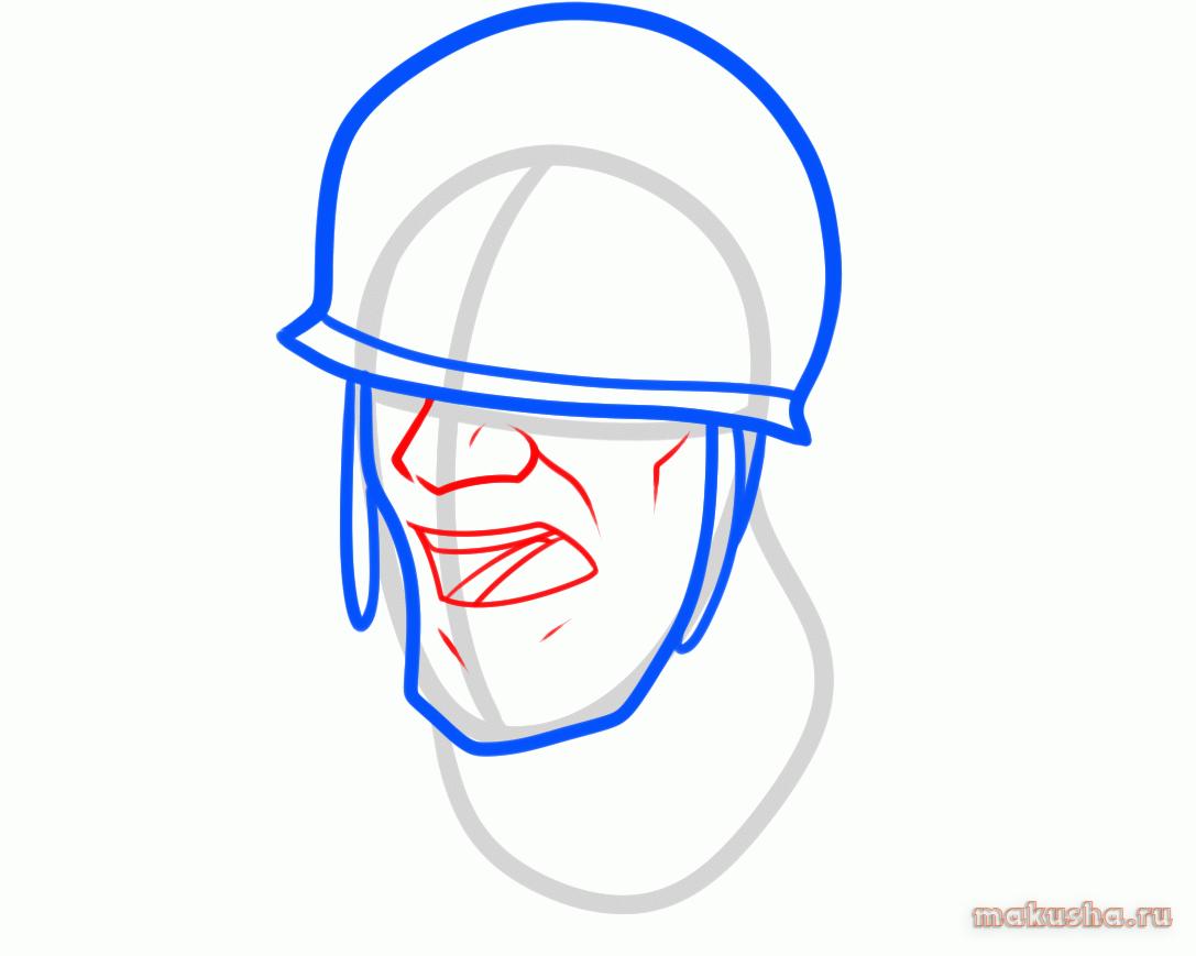 Как нарисовать Солдата из Тим Фортресс карандашом
