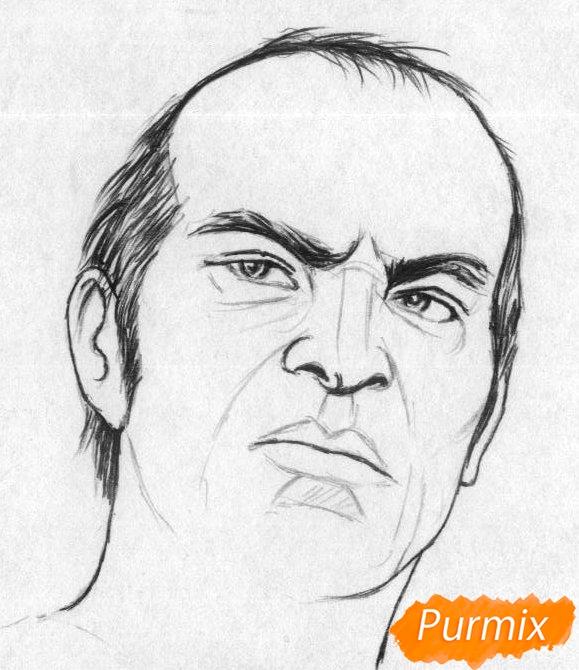 Рисуем Тревора Филипса из игры Grand Theft Auto V карандашами - шаг 2
