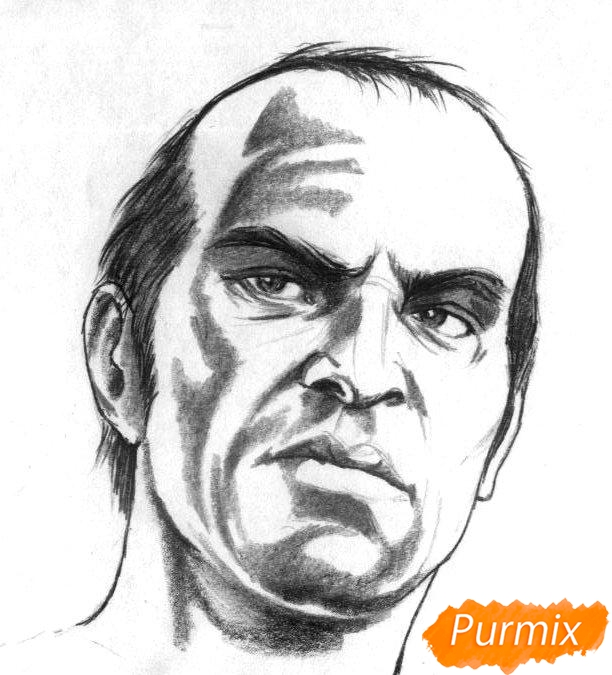 Рисуем Тревора Филипса из игры Grand Theft Auto V карандашами - шаг 3