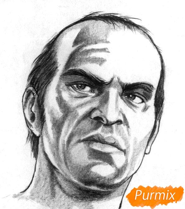 Рисуем Тревора Филипса из игры Grand Theft Auto V карандашами - шаг 4