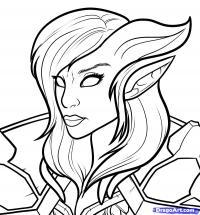 Фото Женщину-дренеи из World of Warcraft карандашом