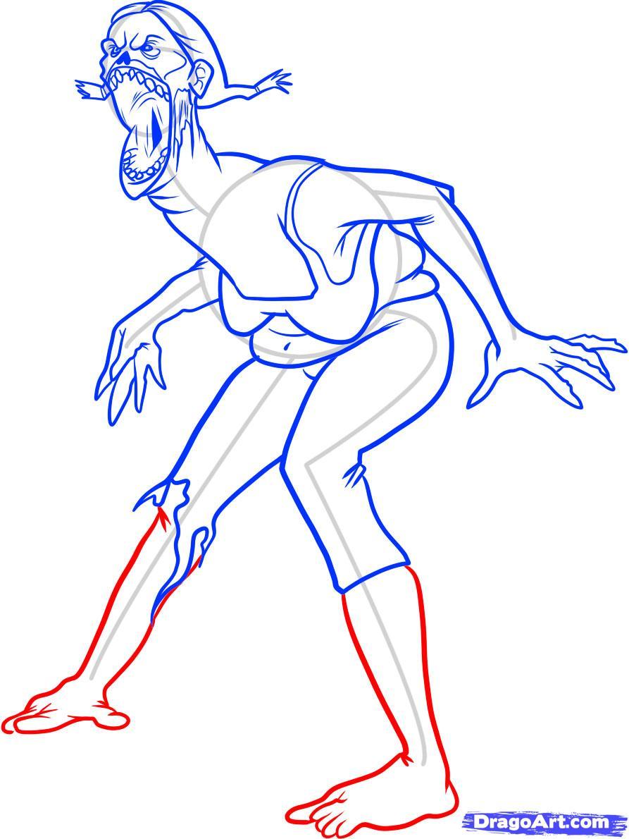 Как нарисовать зомби Spitter из left 4 dead карандашом поэтапно