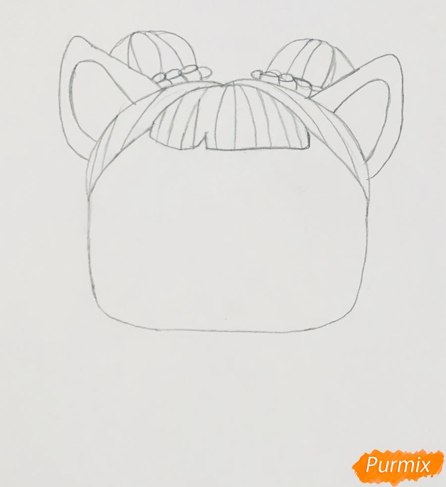 Рисуем белую кошечку с крыльями и в очках из мультфильма Lol Pets - шаг 2