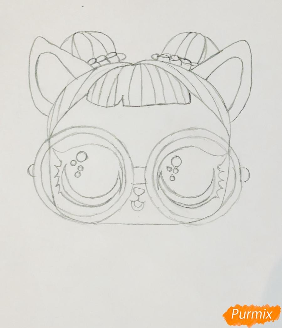 Рисуем белую кошечку с крыльями и в очках из мультфильма Lol Pets - шаг 3