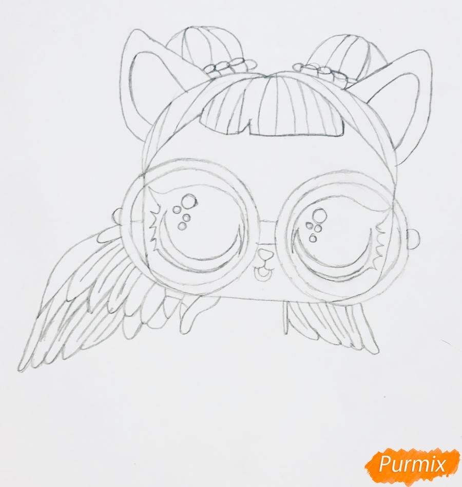 Рисуем белую кошечку с крыльями и в очках из мультфильма Lol Pets - шаг 4