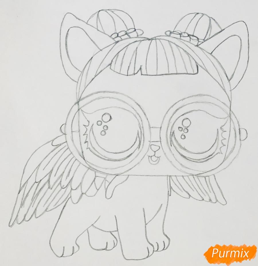 Рисуем белую кошечку с крыльями и в очках из мультфильма Lol Pets - шаг 5