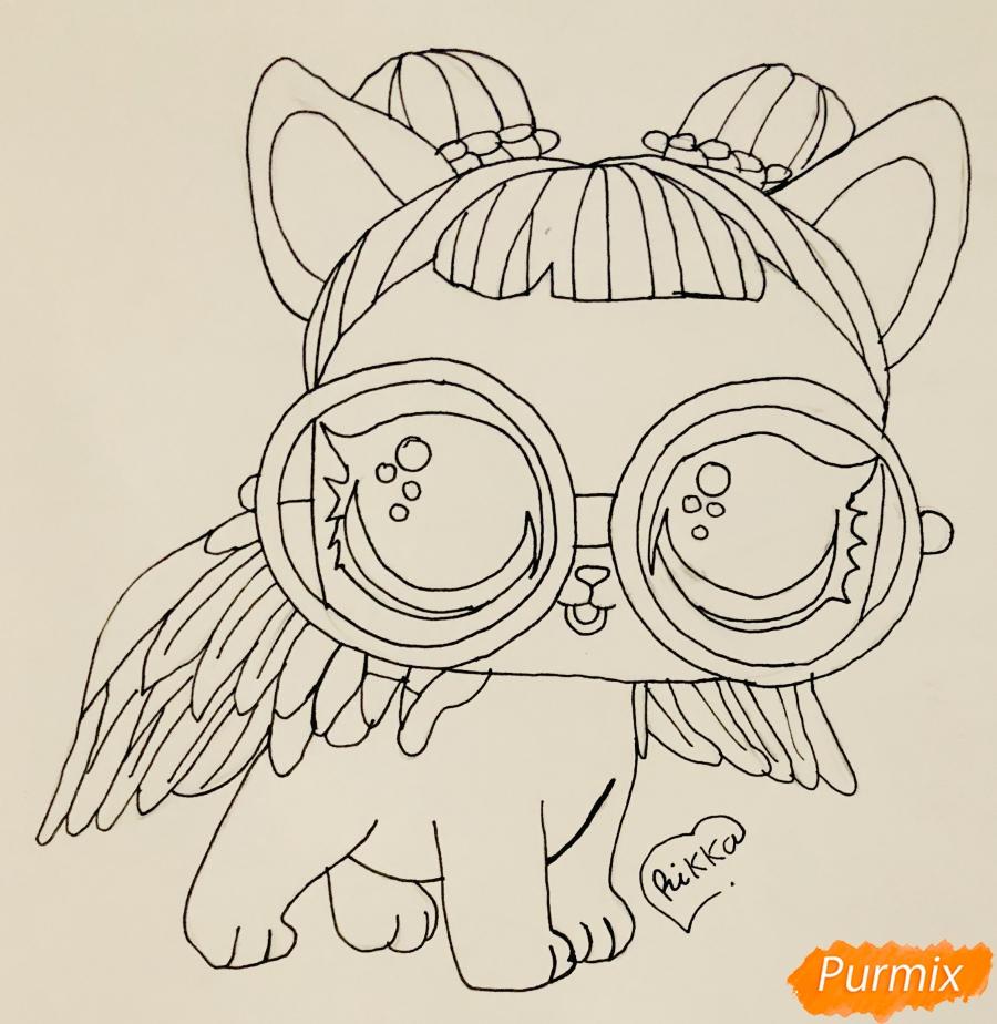 Рисуем белую кошечку с крыльями и в очках из мультфильма Lol Pets - шаг 6