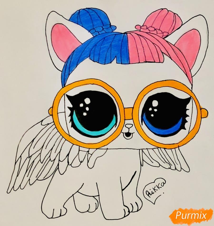 Рисуем белую кошечку с крыльями и в очках из мультфильма Lol Pets - шаг 8