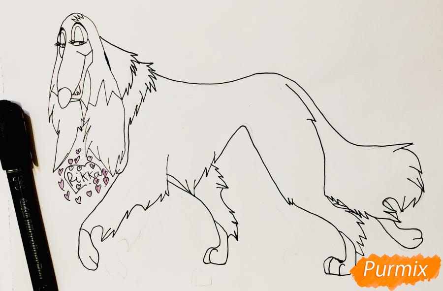 Рисуем афганскую борзую по имени Сильви из мультфильма Балто - фото 5