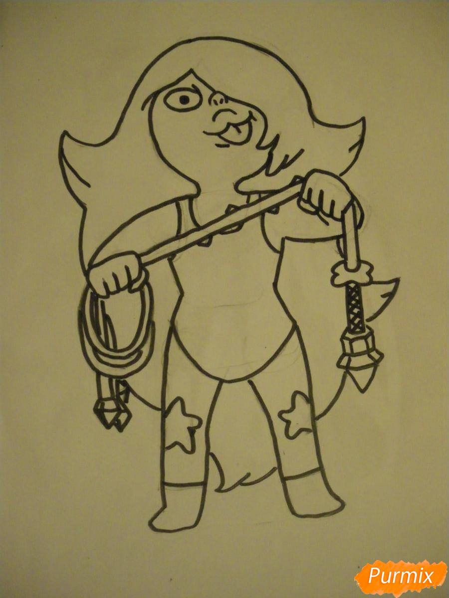 Рисуем Аметист из Вселенная Стивена карандашами - фото 6