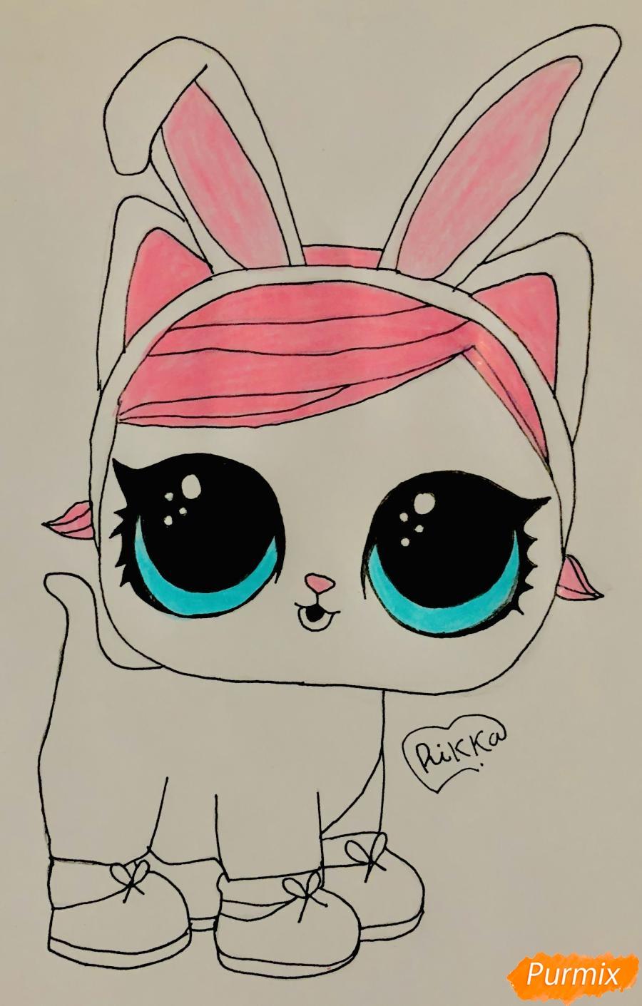 Рисуем белую кошечку с кроличьими ушками из мультфильма Lol Pets - фото 7