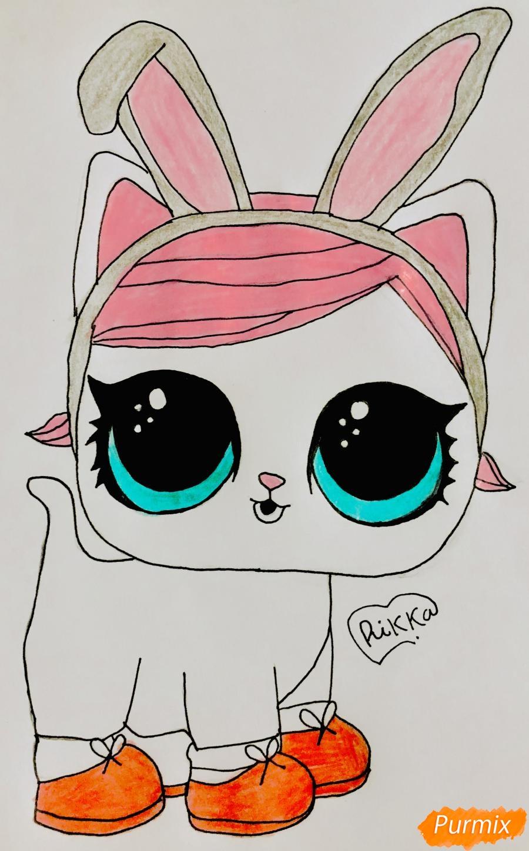 Как нарисовать белую кошечку с кроличьими ушками из мультфильма Lol Pets поэтапно