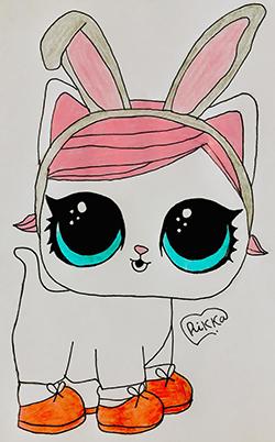 Фото белую кошечку с кроличьими ушками из Lol Pets
