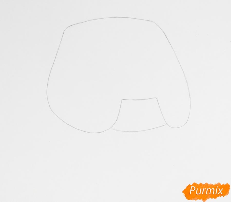 Рисуем пет шопа бульдога из мультфильма My Littlest Pet Shop - шаг 1