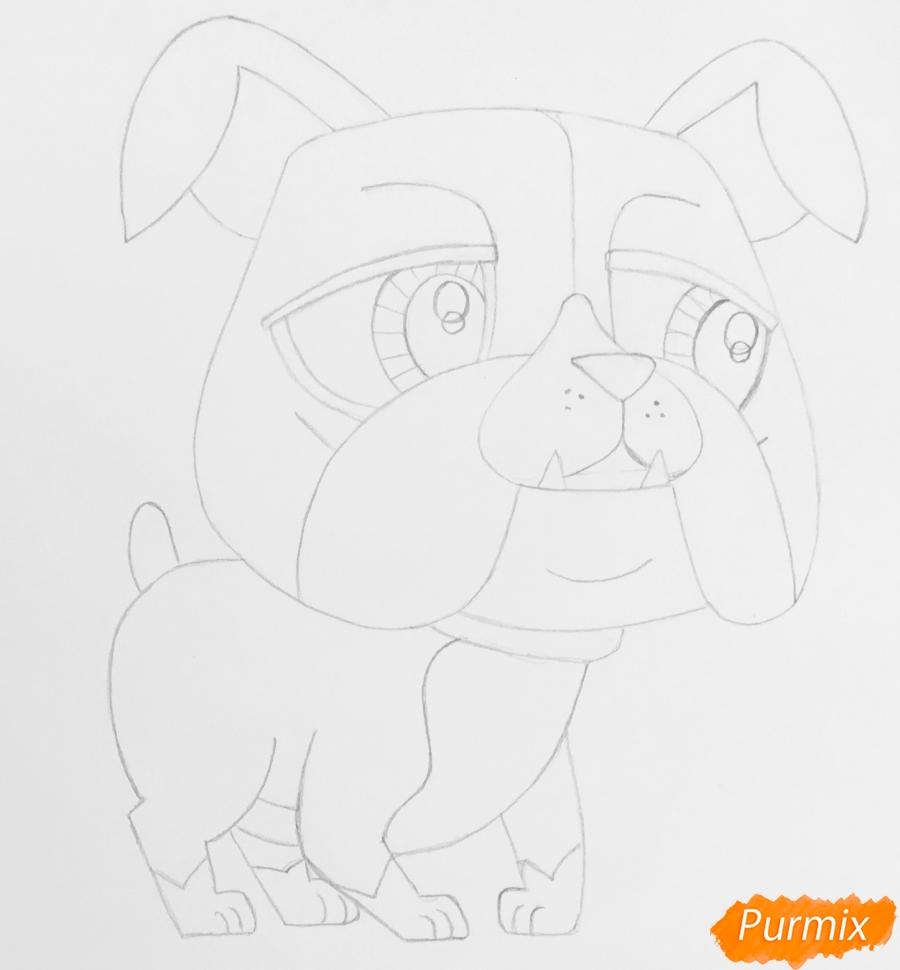 Рисуем пет шопа бульдога из мультфильма My Littlest Pet Shop - шаг 4