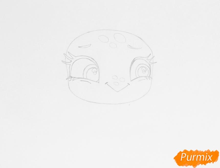 Рисуем черепашку Олиев из мультфильма My Littlest Pet Shop - шаг 2