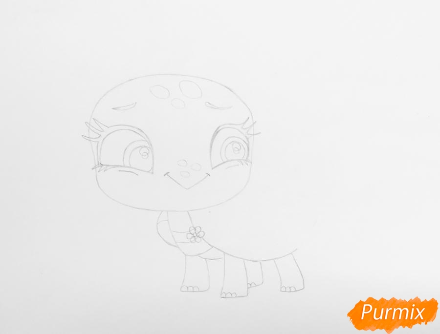 Рисуем черепашку Олиев из мультфильма My Littlest Pet Shop - шаг 3