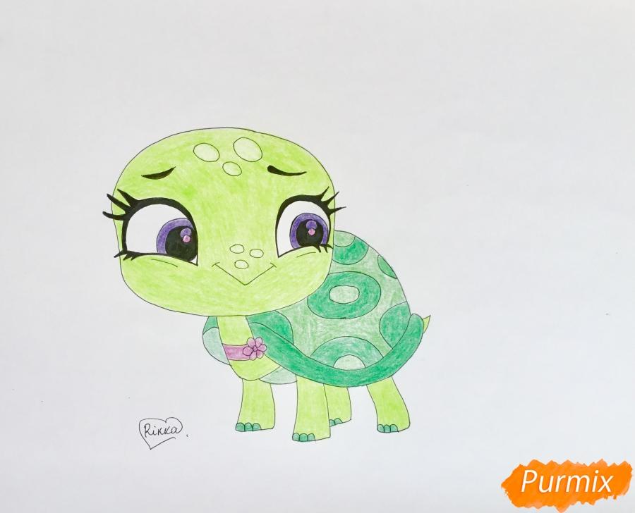 Как нарисовать черепашку Олиев из мультфильма My Littlest Pet Shop карандашом поэтапно