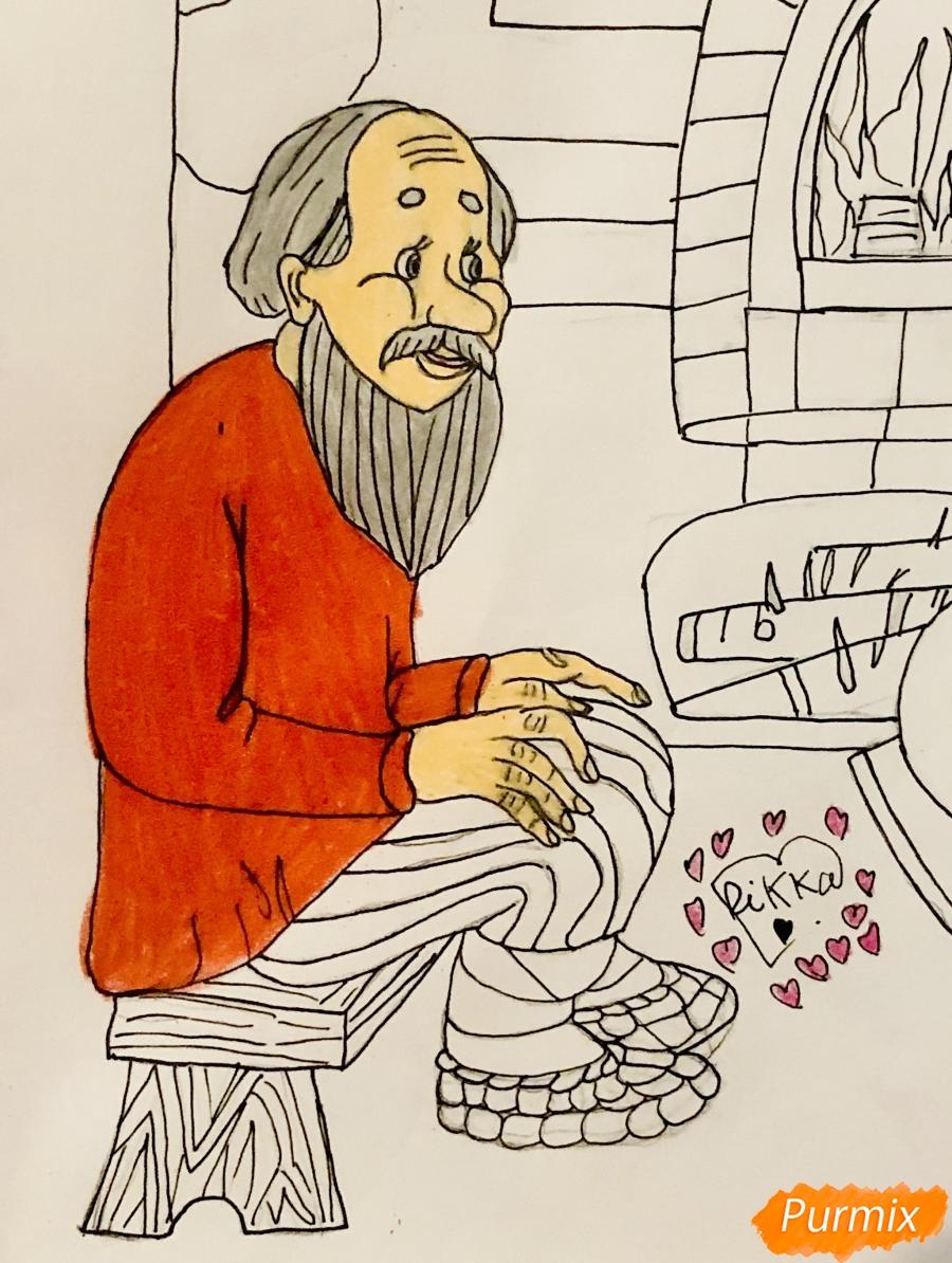 Рисуем деда бабку и колобка из сказки цветными карандашами - фото 12