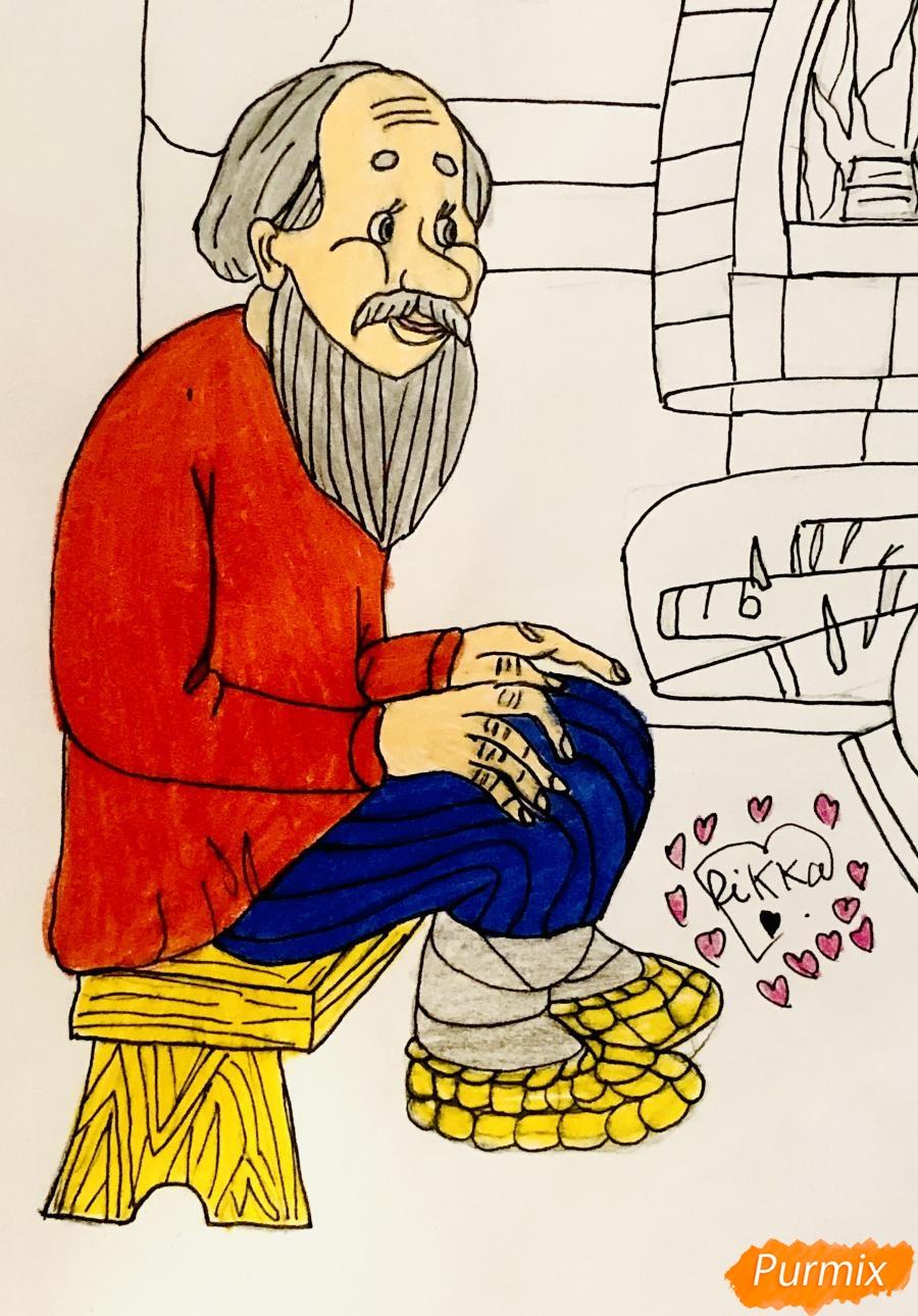 Рисуем деда бабку и колобка из сказки цветными карандашами - фото 13