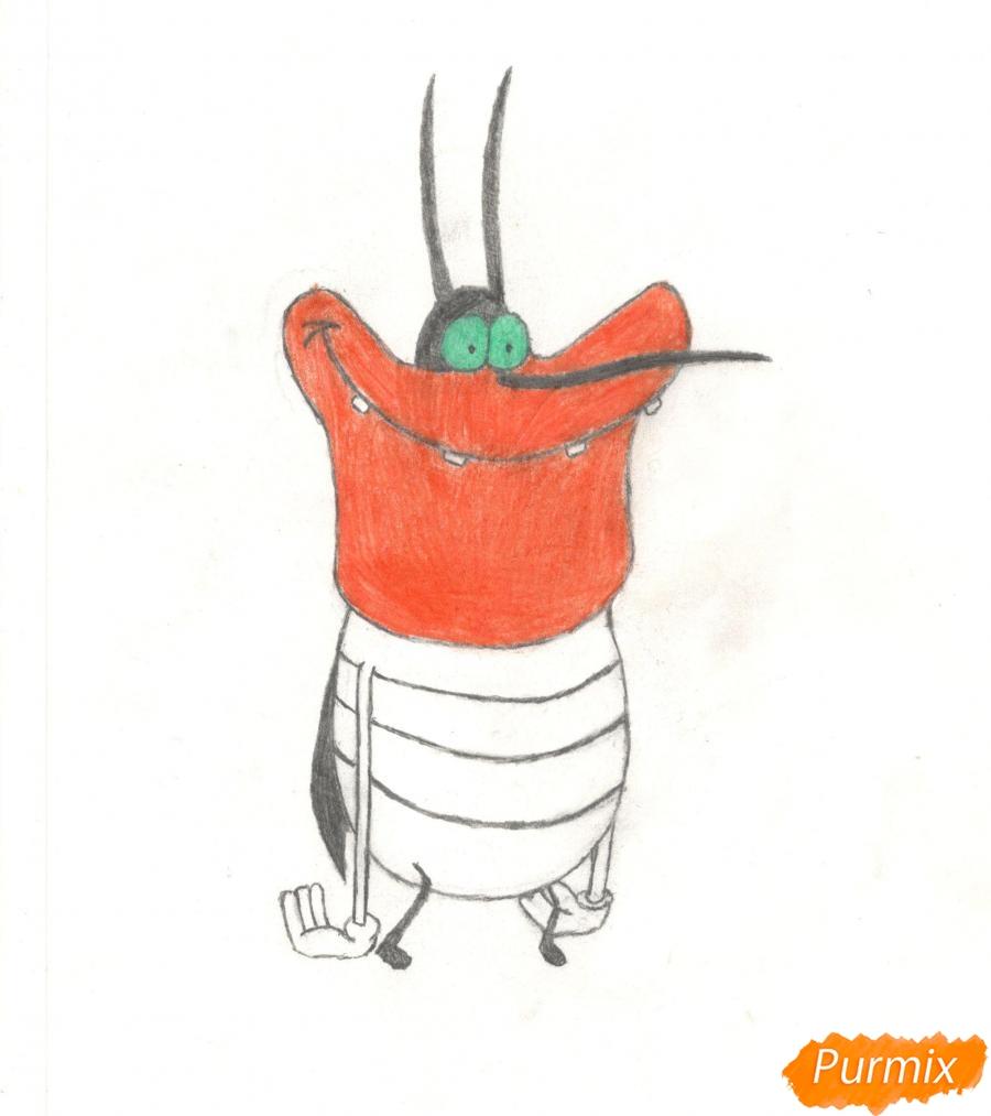Рисуем и раскрасить Ди Ди из мультисериала Огги и Тараканы - шаг 8