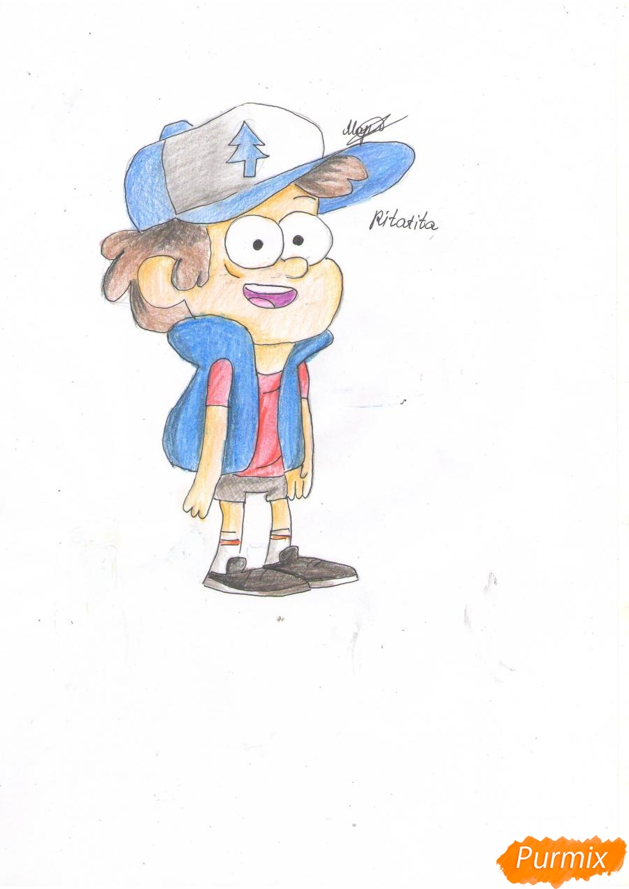 Рисуем Диппера Пайнса из Гравити фолз карандашами - шаг 8