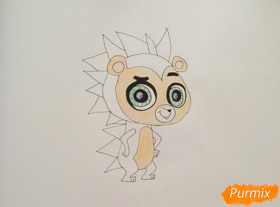 Рисуем ёжика Рассела из мультфильма My Littlest Pet Shop - шаг 6